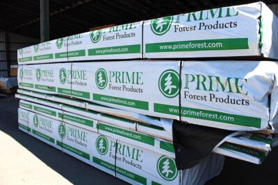 This lumber, bearing the Prime Forest Products logo, is packaged and ready to ship.