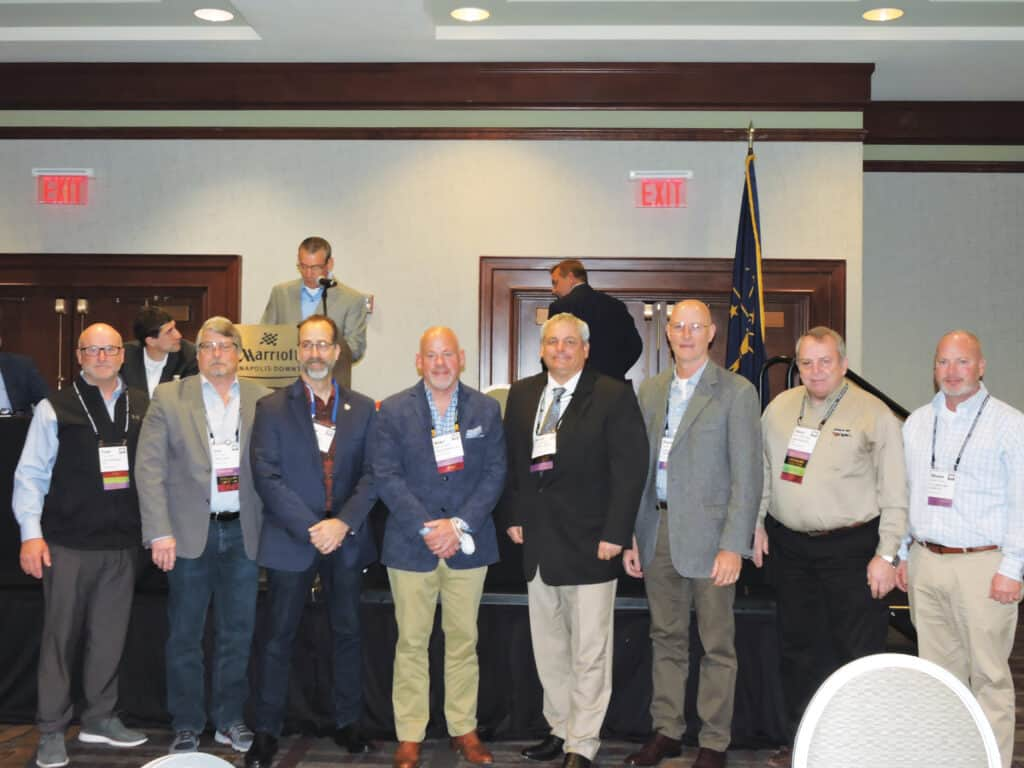 Past IHLA presidents, from left: Tom Oilar, Cole Hardwood, Logansport, IN; Jay Engle, Smith Creek, Borden, IN; Rich Solano, Pike Lumber, Akron, IN; Mike Powers, Maley & Wertz, Evansville, IN; Brett Franklin, Tri-State Timber, Bloomington, IN; Darren Hollingsworth, Hollingsworth Lumber, Russiaville, IN; Dave Bramlage, Cole Hardwood; and Shaun Cook, C.C. Cook & Sons Lumber, Reelsville, IN