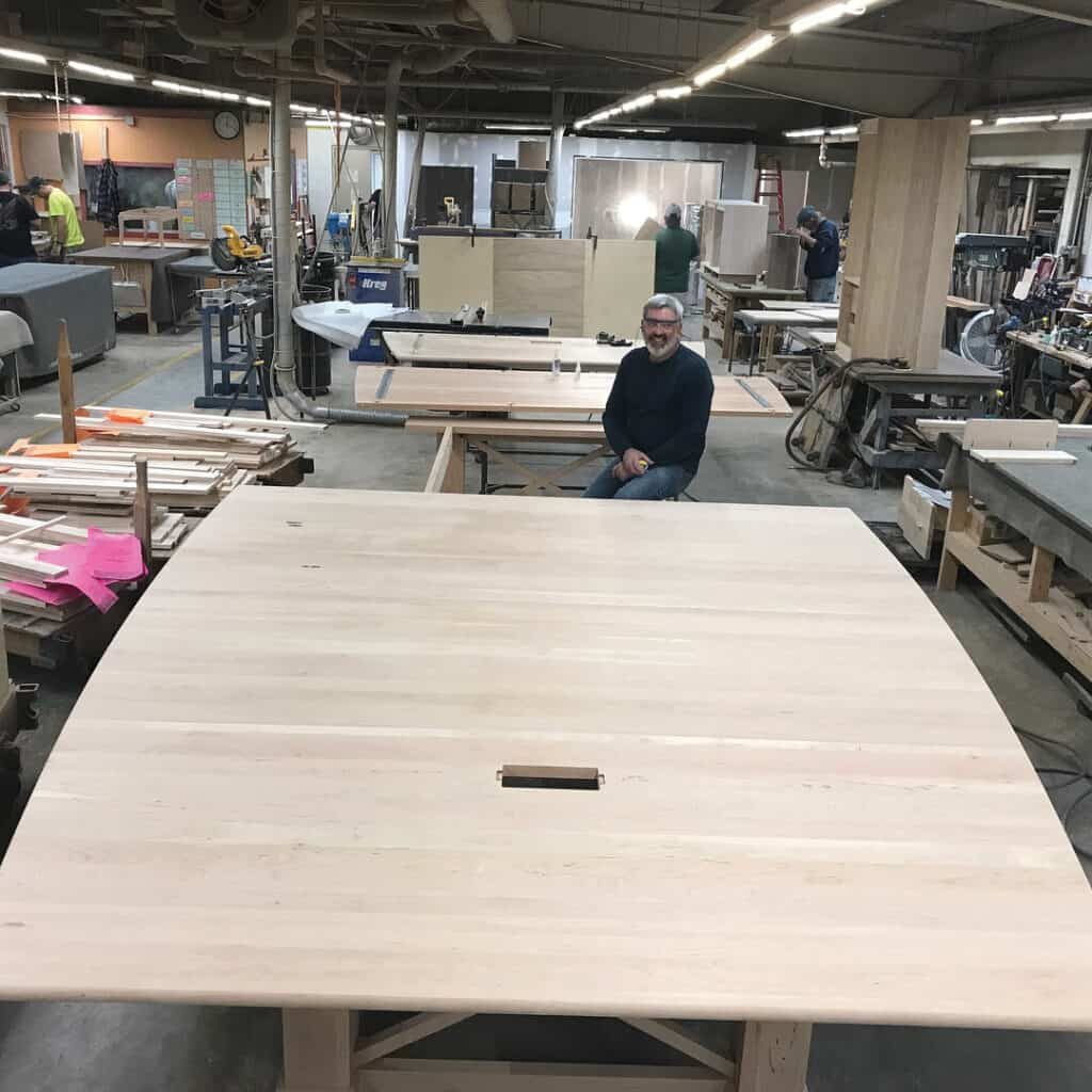 Gat Creek uses Appalachian Hardwoods harvested within 250 miles of the factory. This large custom conference table is made of Cherry.