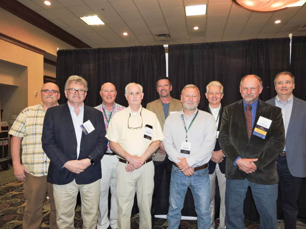 Past presidents in attendance at the 2021 KFIA Annual Meeting were: (Front row, from left): Rick Armstrong, Homer Gregory Co. Inc., Morehead, KY; Bill Steele Jr., Bitteroot Hardwoods & Dimensions, Bowling Green, KY; Mervin Strader, Strader Bros. LLC, Elkton, KY; and Henry Christ, Dunaway Timber Co. Inc., Fordsville, KY; (back row, from left): Tony Leanhart, self-employed, Wholesale Lumber Sales, La Grange, KY; Tony Goodman, C.B. Goodman & Sons Lumber Inc., Hickory, KY; Darrin Gay, Gay Brothers Logging and Lumber, Oneida, KY; Rick Goodin, YesterYear Floors, Campbellsville, KY; and Steve Merrick, Somerset Hardwood Flooring, Somerset, KY