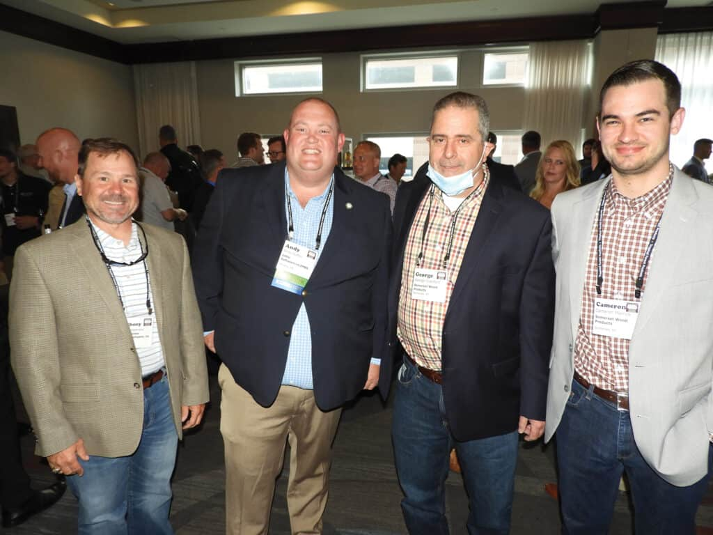 Anthony Hammond, Roy Anderson Lumber Co. Inc., Thompkinsville, KY; Andy Nuffer, DMSi Software/TallyExpress/eLIMBS LLC, High Point, NC; and George Crawford and Cameron Merrick, Somerset Wood Products, Somerset, KY