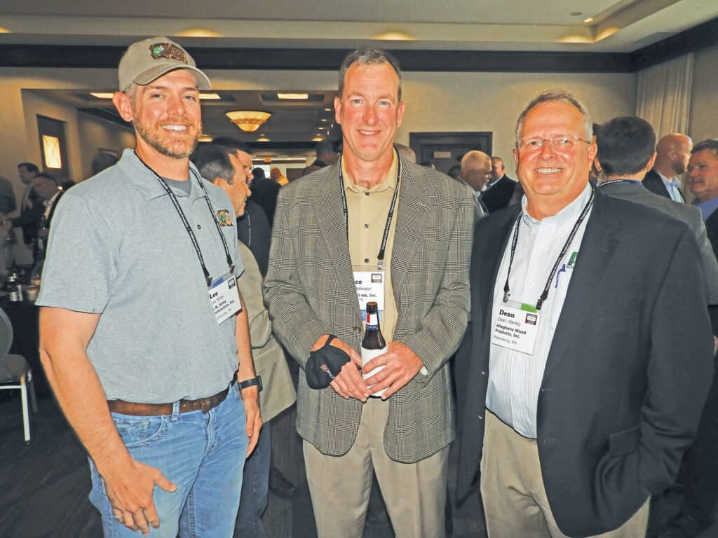Lee Stiles, A.W. Stiles Contractors Inc., McMinnville, TN; Lance Johnson, ISK Biocides Inc., Memphis, TN; and Dean Alanko, Allegheny Wood Products Inc., Petersburg, WV