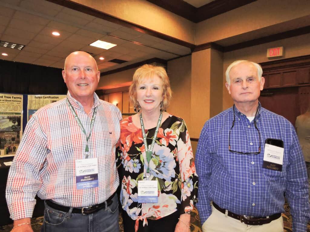 Tony and Cheryl Goodman, C.B. Goodman & Sons Lumber Inc., Hickory, KY; and Bill Steele Jr., Bitteroot Hardwoods & Dimensions, Bowling Green, KY