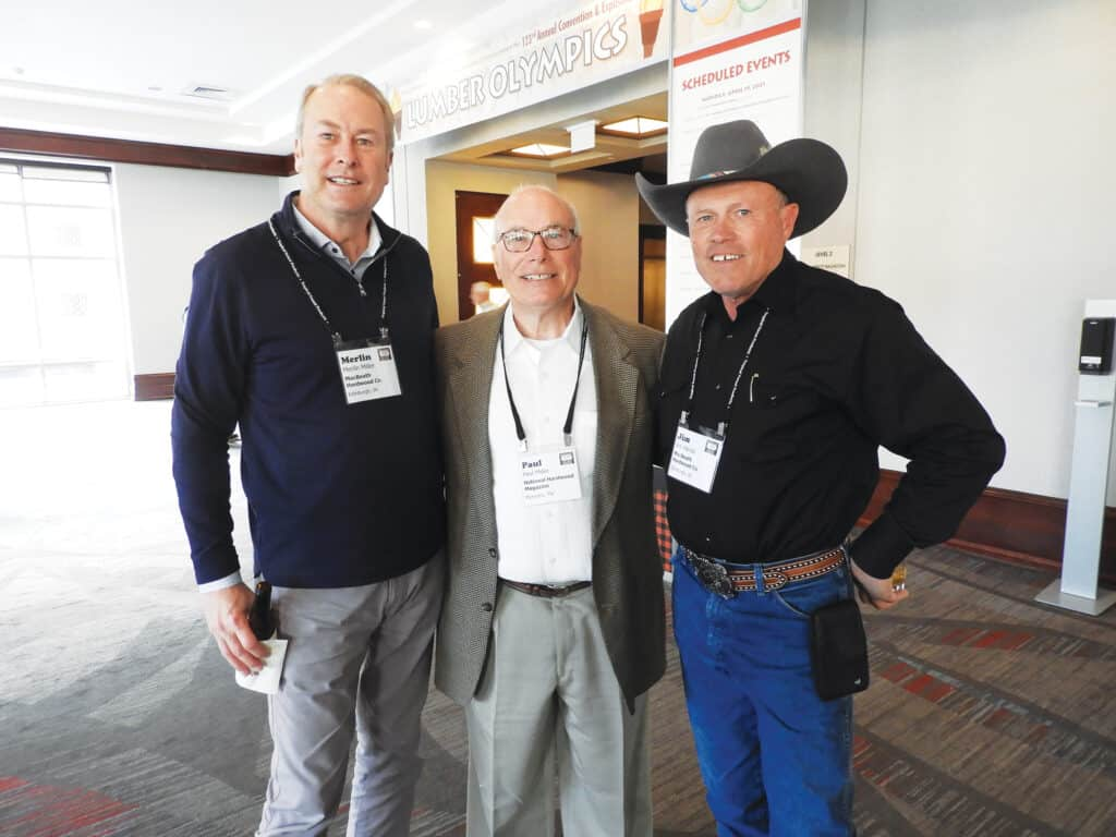 Merlin Miller, MacBeath Hardwood Co., Salt Lake City, UT; Paul Miller Jr., National Hardwood Magazine, Memphis, TN; and Jim Harrell, MacBeath Hardwood Co.