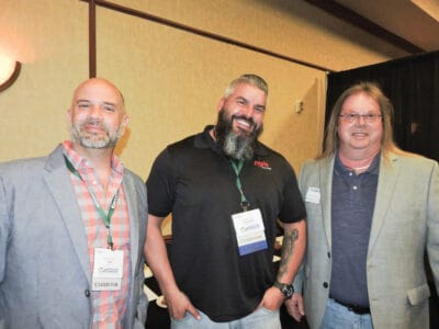 John Hester, National Hardwood Lumber Assoc., Memphis, TN; Jeremy Pitts, Nyle Systems LLC, Brewer, ME; and William Perry, Powell Valley Millwork LLC, Clay City, KY