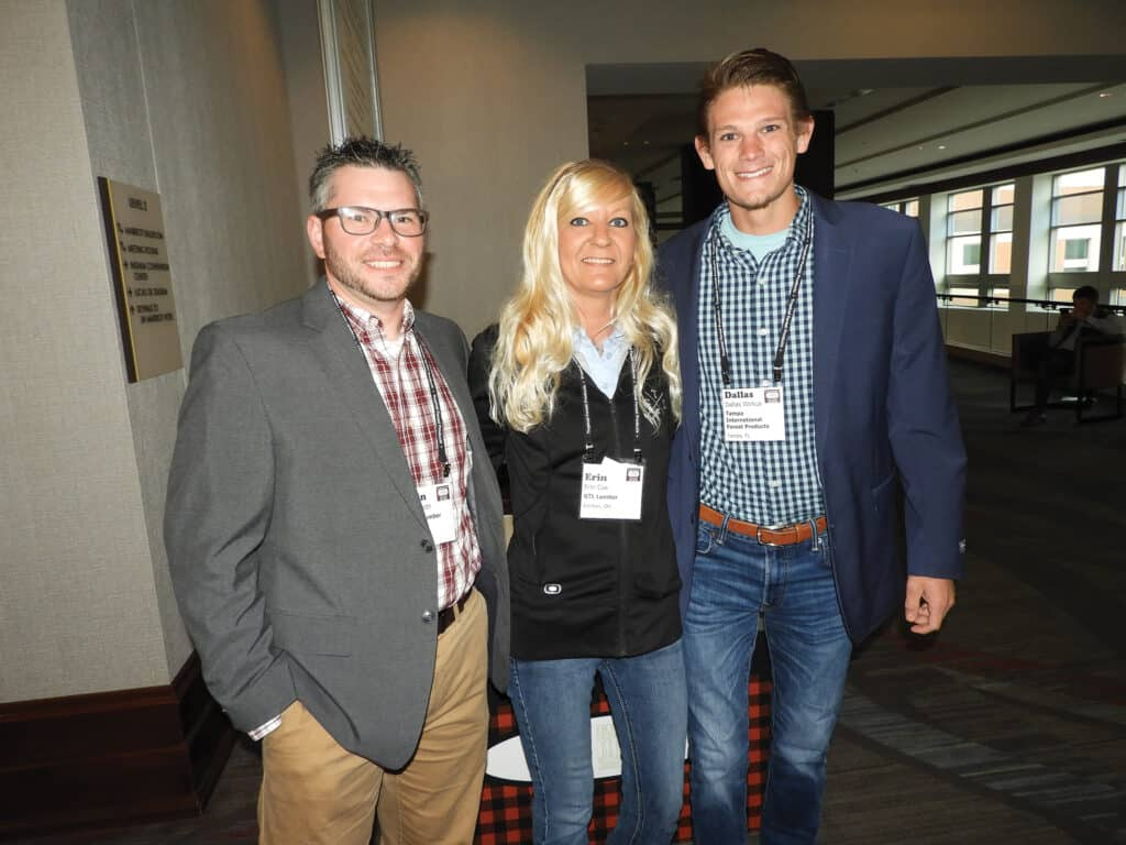 Kevin Smith, Matson Lumber Co., Brookville, PA; Erin Cox, GTL Lumber Inc., Ironton, OH; and Dallas Wirkus, Tampa International Forest Products LLC, Tampa, FL