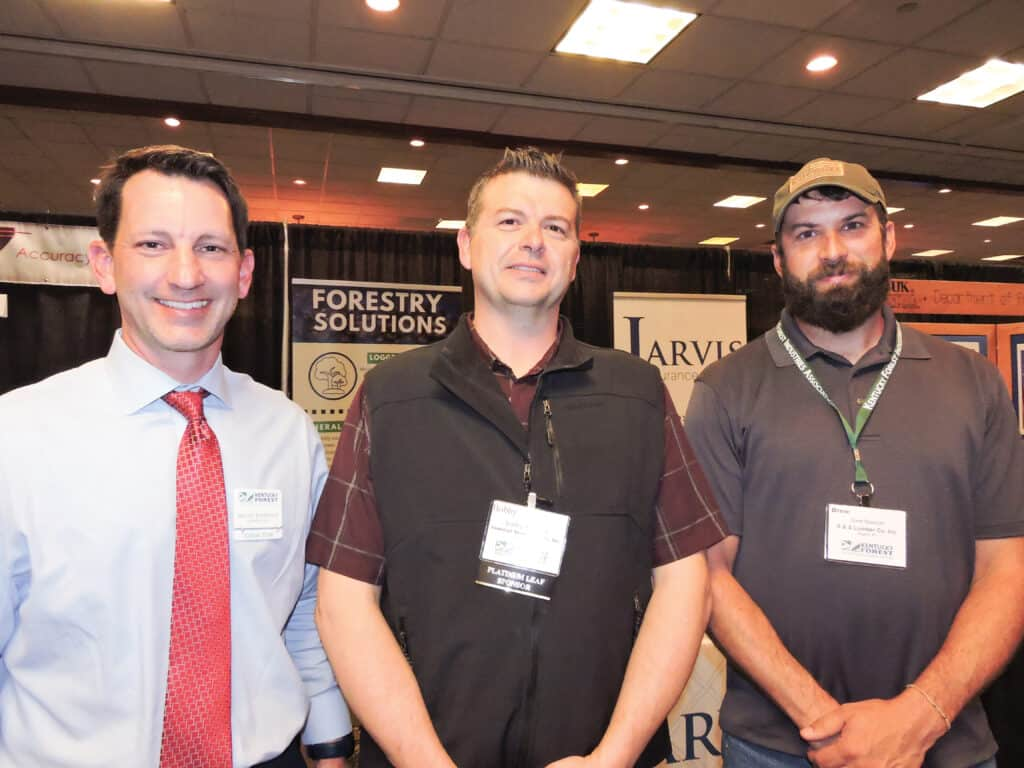 Brian Johnson, Koppers Inc., Bon Aqua, TN; Bobby Atkinson, Somerset Wood Products Inc., Somerset, KY; and Drew Spencer, S&S Lumber Co. Inc., Rogers, KY