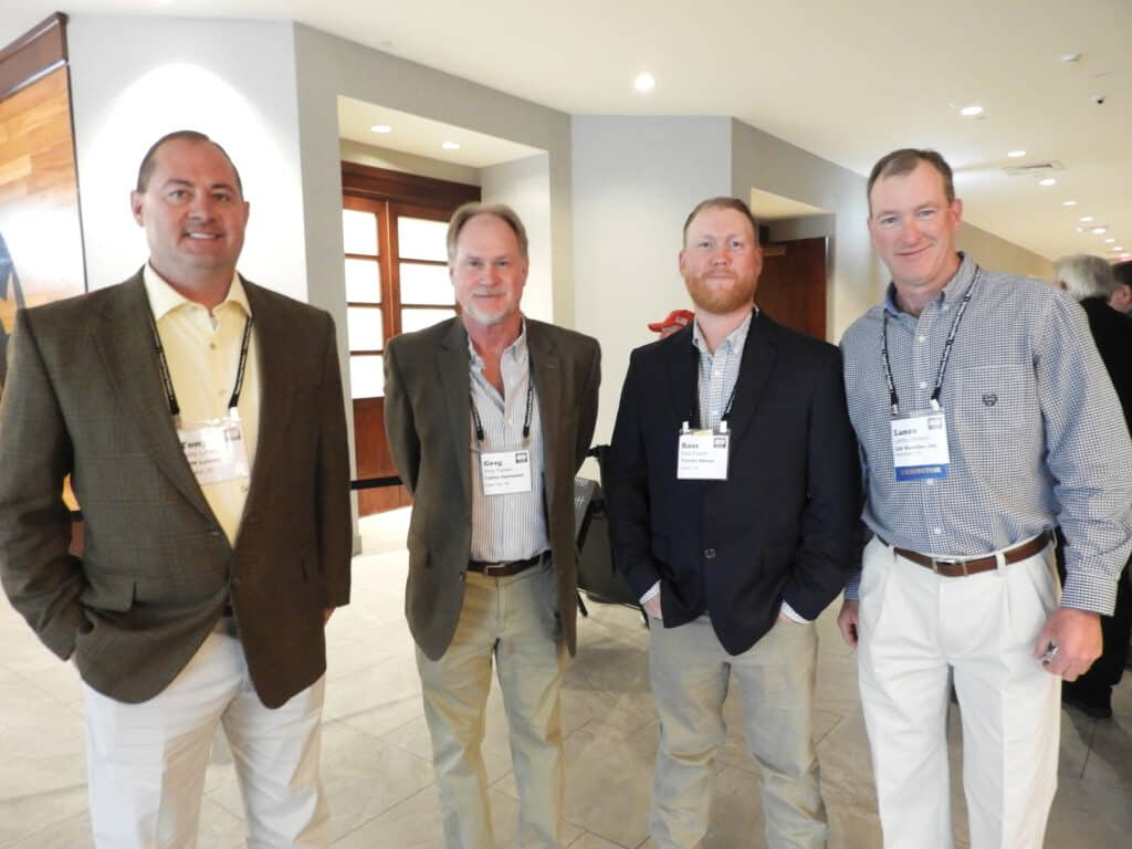 Tony Love, BPM Lumber LLC, London, KY; Greg Pappas, Cove City, NC; Ross Frazier, Turman-Mercer Sawmills LLC, Salem, VA; and Lance Johnson, ISK Biocides Inc., Memphis, TN