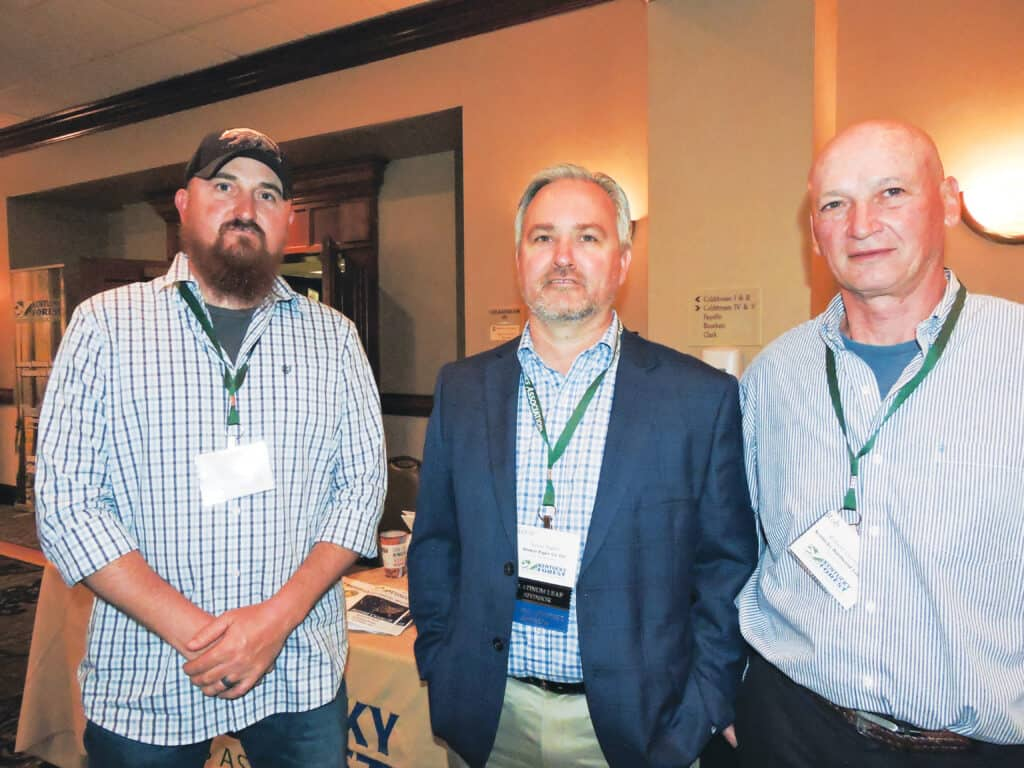 Coby Stephens, Kentucky Hardwood Lumber Co. Inc., Somerset, KY; Kevin Tudor, Domtar Paper Co. LLC, Mount Sterling, KY; and Rob Cornett, Kentucky Hardwood Lumber Co. Inc.