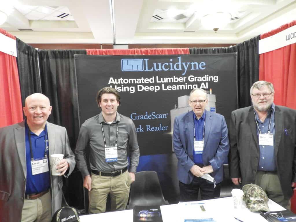 Larry Krueger, Krueger Lumber Co. Inc., Valders, WI; Bob Bell and John Rhea, Lucidyne, A Division of Microtec, Corvallis, OR; and Steve Peters, Rockland Flooring, Rockland, WI