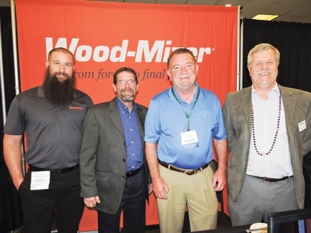 Jake Welker and Gary Moore, Wood-Mizer Products Inc., Indianapolis, IN; Mike Goldston, Brewco Inc., Central City, KY; and Bob Bauer, Executive Director, KFIA, Frankfort, KY