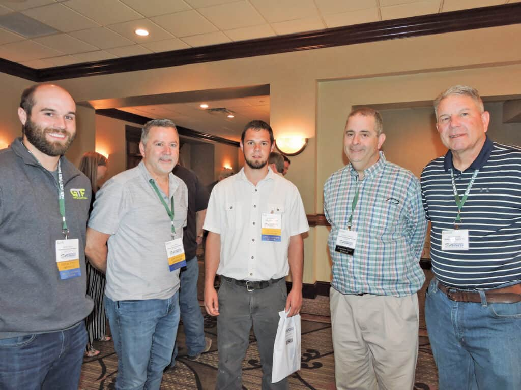Keith Henry and James Wells, GreenTree Forest Products Inc., Wallingford, KY; Josh Peachey, Eagle Lumber Co. LLC, Greensburg, KY; George Crawford, Somerset Hardwood Flooring, Somerset, KY; and Howell White, Walter M. Fields Lumber Co. Inc., Memphis, TN