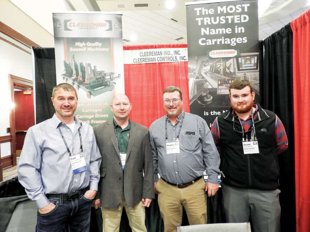Paul Cleereman and Rob Kittle, Cleereman Industries Inc., Newald, WI; and Stephen Dorris and Grant Dorris, Volner Sawmill Inc., Parsons, TN