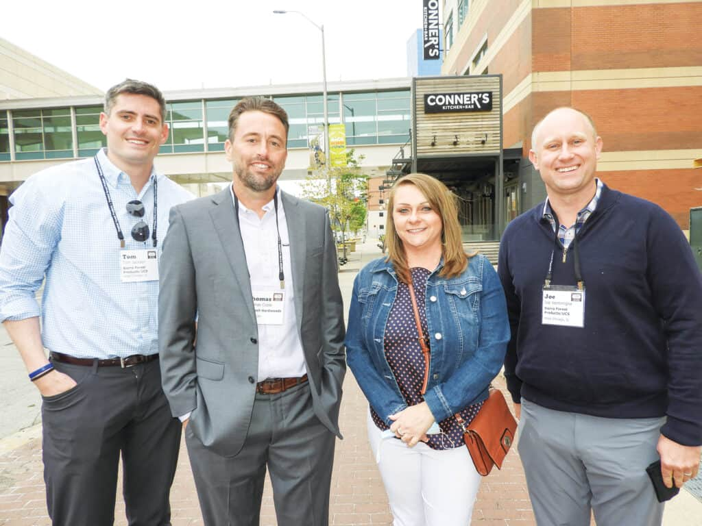 Tom Jackson, Sierra Forest Products/UCS, West Chicago, IL; Tom Coble, Hartzell Hardwoods Inc., Piqua, OH; Kellee Griffith, Cardin Forest Products LLC, South Pittsburg, TN; and Joe Ventimiglia, Sierra Forest Products/UCS