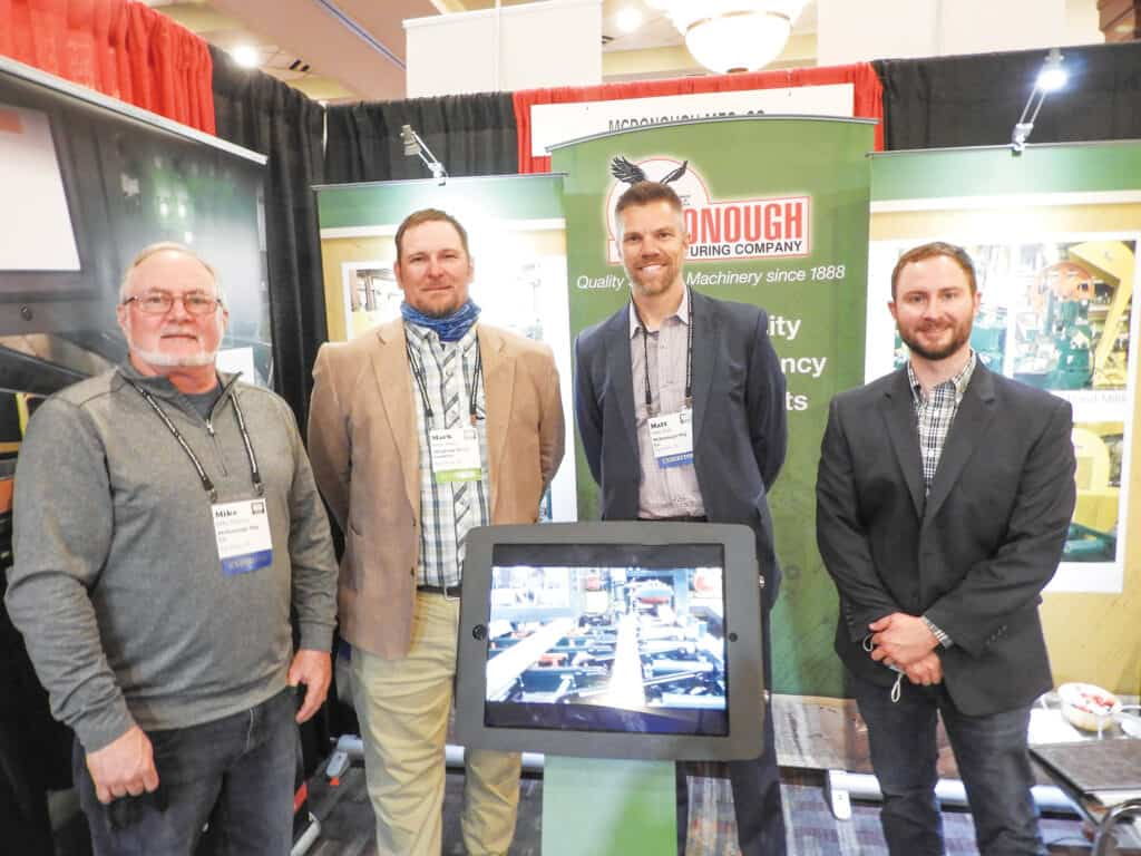 Mike McAvoy, McDonough Mfg. Co., Eau Claire, WI; Mark Jones, Allegheny Wood Products Inc., Petersburg, WV; and Matt Tietz and Matt Frazier, McDonough Mfg. Co.