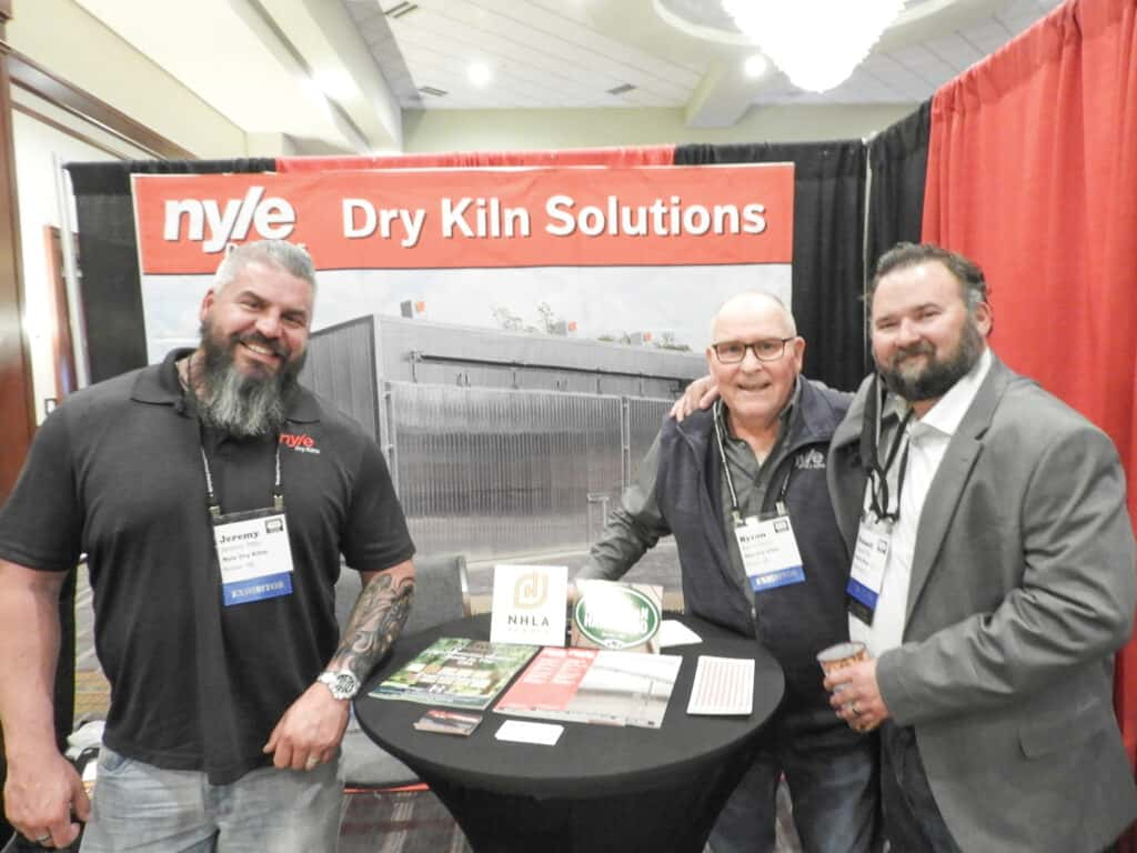 Jeremy Pitts and Byron Chute, Nyle Systems LLC, Brewer, ME; and Russell Fite, Wood-Mizer LLC, Indianapolis, IN