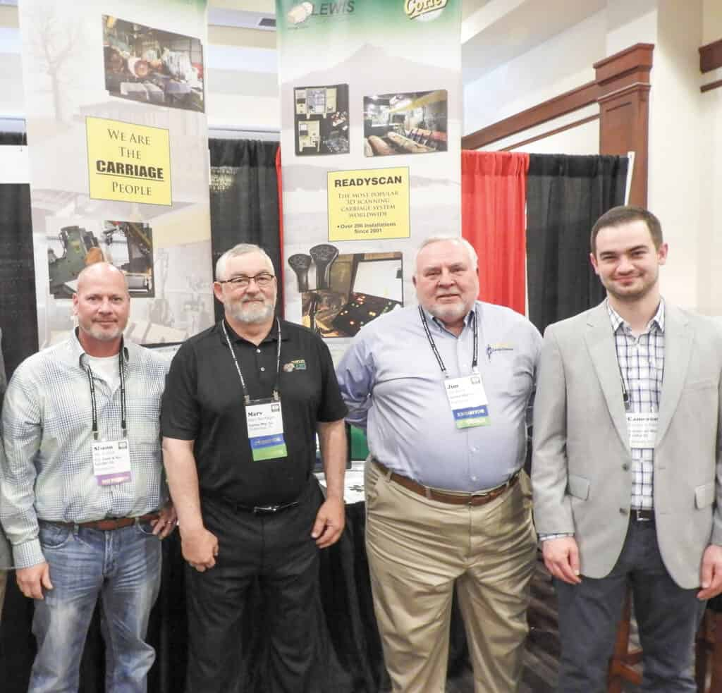 Shaun Cook, C.C. Cook & Son Lumber Co. Inc., Reelsville, IN; Marv Bernhagen, Lewis Controls Inc./Corley Mfg. Co., Chattanooga, TN; Jim Burris, Corley Mfg. Co.; and Cameron Merrick, Somerset Wood Products, Somerset, KY