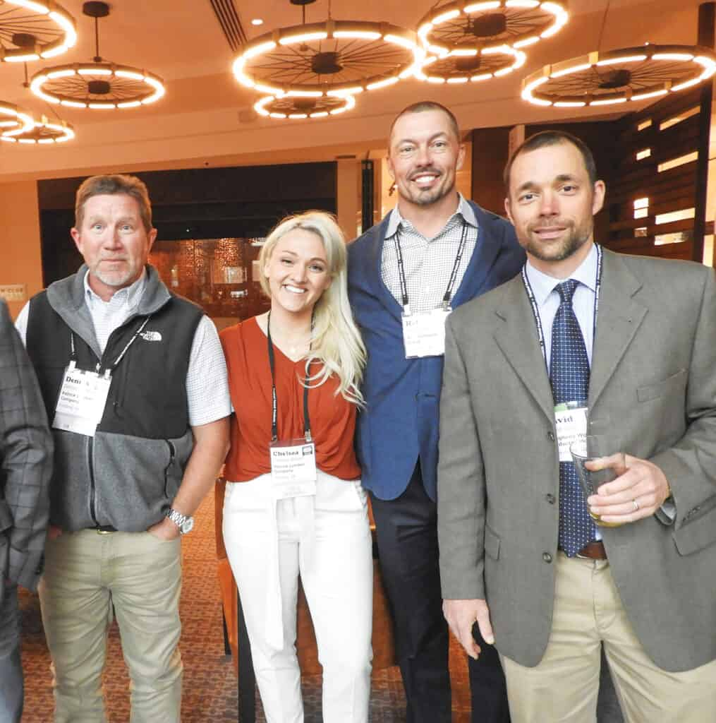 Dennis Sanders and Chelsea Brown, Patrick Lumber Co., Portland, OR; Hal Mitchell, AHC Hardwood Group, Mableton, GA; and David Olah, Allegheny Wood Products Inc., Petersburg, WV