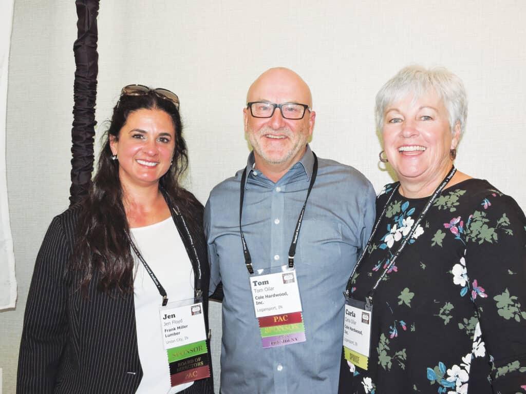 Jen Floyd, Frank Miller Lumber Inc., Union City, IN; and Tom and Carla Oilar, Cole Hardwood Inc., Logansport, IN