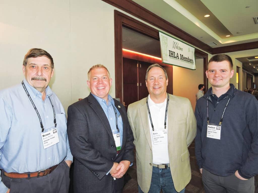 Bruce Horner, Abenaki Timber Corp., Kingston, NH; Bob Miller, Frank Miller Lumber Inc., Union City, IN; and Eric Porter and Parker Dukas, Abenaki Timber Corp.