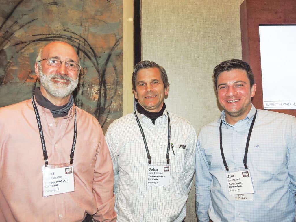 Jon Johnson and John Erickson, Timber Products Co., Munising, MI; and Jim Maltese, Stella-Jones Corp., Winslow, IN
