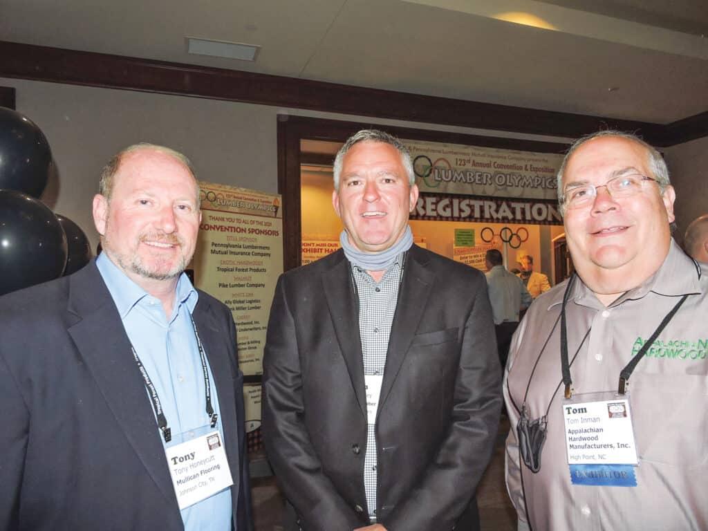 Tony Honeycutt, Mulligan Flooring, Johnson City, TN; John Foley, BPM Lumber LLC, Lexington, KY; and Tom Inman, Appalachian Hardwood Manufacturers Inc., High Point, NC
