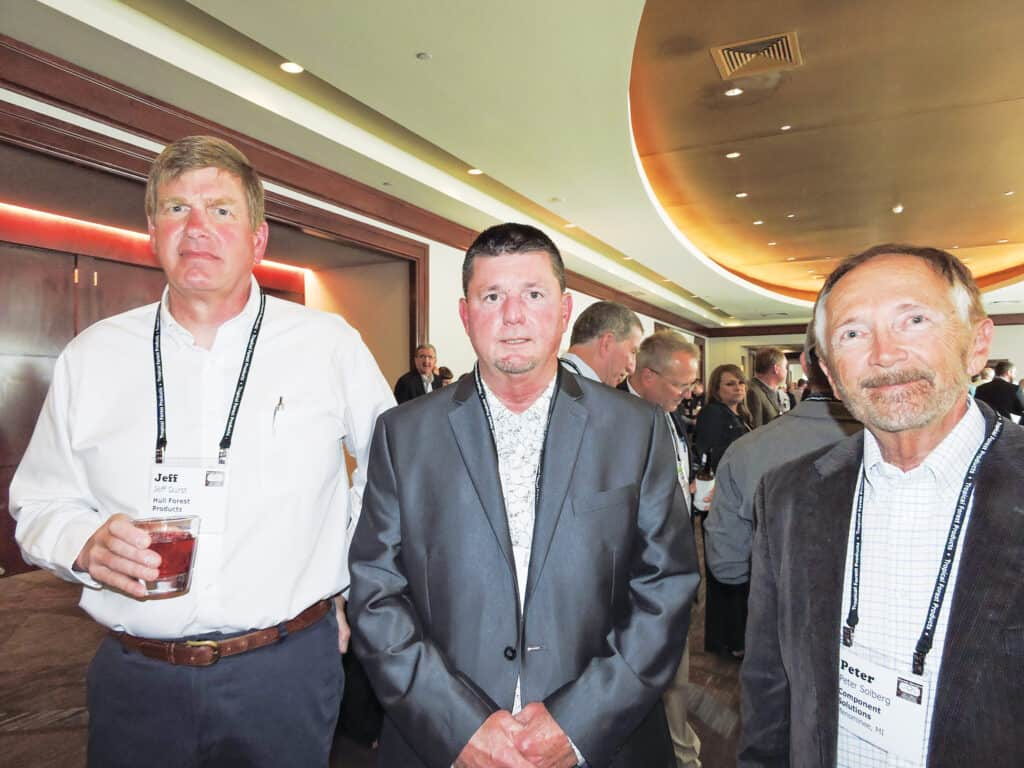 Jeff Durst, Hull Forest Products, Madison, IN; Jay Reese, Penn-Sylvan International, Spartansburg, PA; and Peter Solberg, Component Solutions LLC, Menominee, MI
