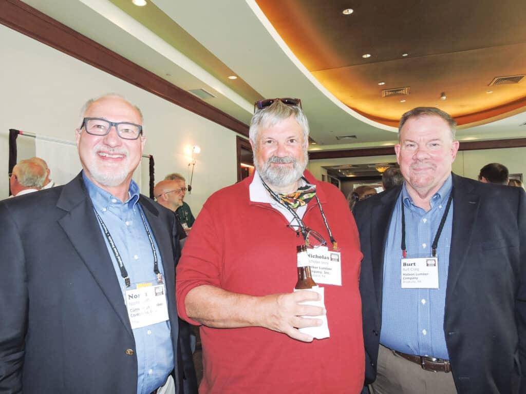 Norm Steffy, Cummings Lumber Co. Inc., Troy, PA; Nick Ince, Walker Lumber Co. Inc., Woodland, PA; and Burt Craig, Matson Lumber Co., Brookville, PA