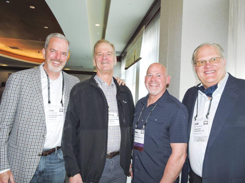 Jim Howard, Atlanta Hardwood Corp., Mableton, GA; Doug Newman, Newman Lumber Co., Gulfport, MS; Mike Powers, Maley & Wertz Inc., Evansville, IN; and Jeff Wirkkala, Hardwood Industries Inc., Sherwood, OR