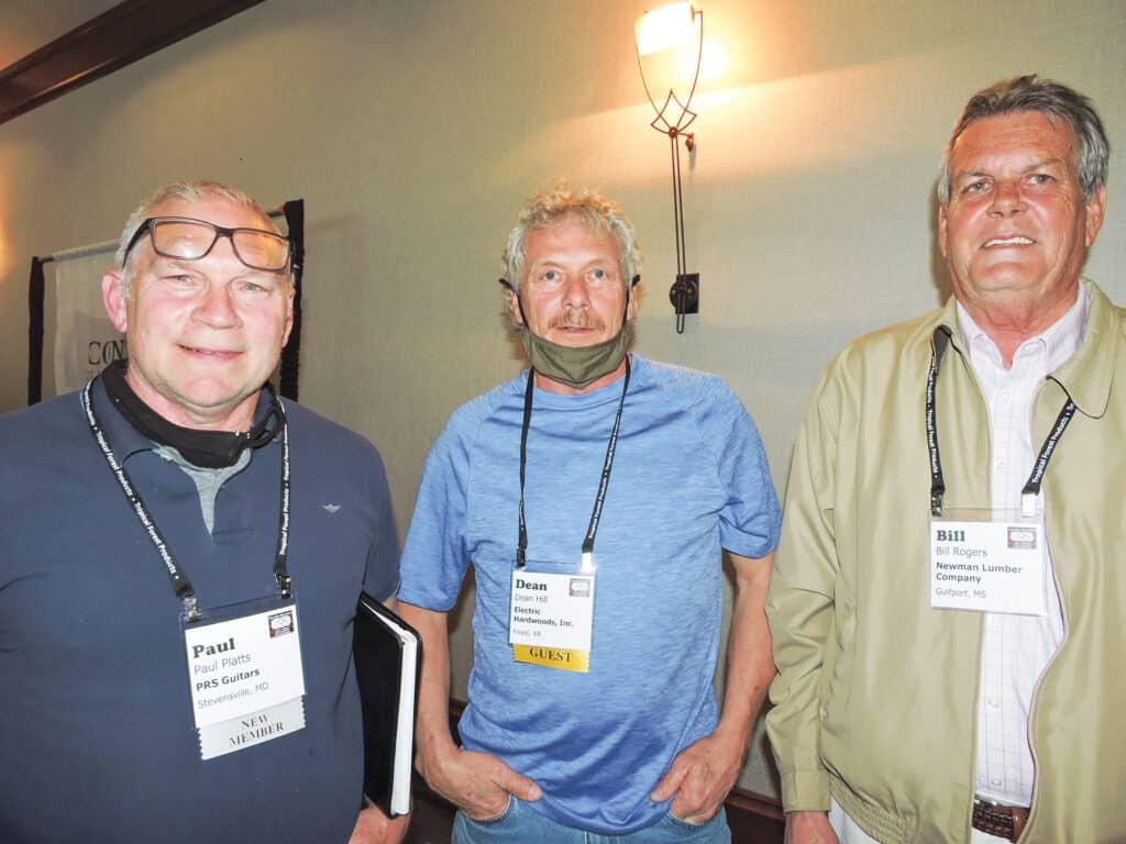 Paul Platts, PRS Guitars, Stevensville, MD; Dean Hill, Electric Hardwoods Inc., Haysi, VA; and Bill Rogers, Newman Lumber Co., Gulfport, MS
