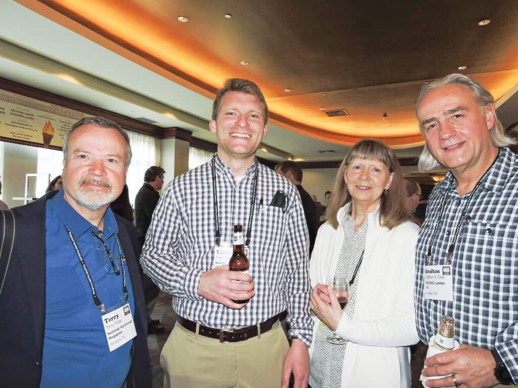 Terry Miller, National Hardwood Magazine, Memphis, TN; Tyler Kamps, Kamps Hardwoods Inc., Dutton, MI; and Anne and Grafton H. Cook, MO PAC Lumber Co., Fayette, MO