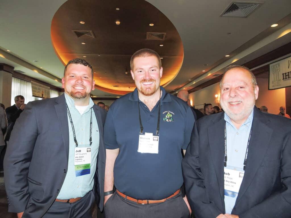 Jeff Dougherty, Ally Global Logistics LLC, Jacksonville, FL; Simon Ince, Walker Lumber Co. Inc., Woodland, PA; and Bob Pope, SII Dry Kilns, Montpelier, VT