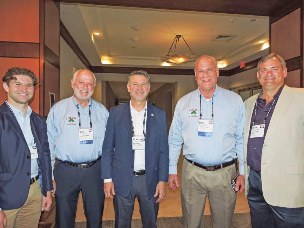 Nate Jones, Ron Jones Hardwood Sales Inc., Union City, PA; Tim Girardi, Log 2 Lumber LLC, Louisville, KY; Steve Jones, Ron Jones Hardwood Sales Inc.; Ron Nentwig, Log 2 Lumber LLC; and Mark Vollinger, W.M. Cramer Lumber Co., Hickory, NC