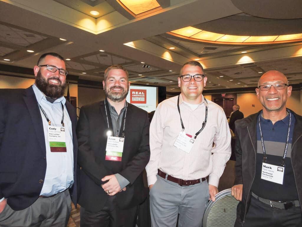 Cody Larimore, Ryan Mulligan and Tyler Smith, Pike Lumber Co. Inc., Akron, IN; and Mark Hayes, Northwest Hardwoods Inc., Tacoma, WA