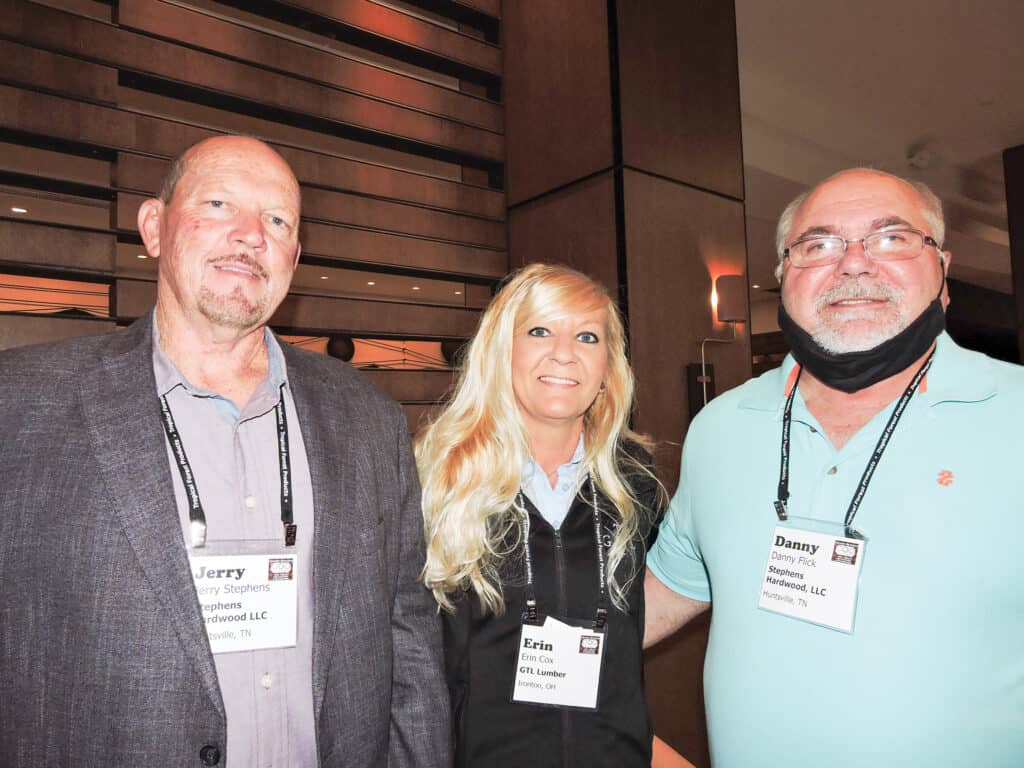 Jerry Stephens, Stephens Hardwoods LLC, Huntsville, TN; Erin Cox, GTL Lumber, Ironton, OH; and Danny Flick, Stephens Hardwoods LLC