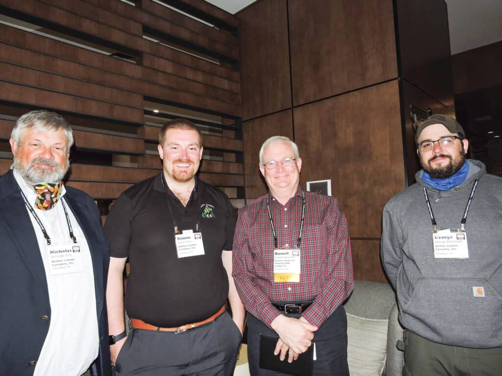 Nick Ince and Simon Ince, Walker Lumber Co. Inc., Woodland, PA; Russell Shamblen, Premier Hardwood Products Inc./B&B Lumber Co. Inc., Jamesville, NY; and George Ensminger, Walker Lumber Co. Inc.