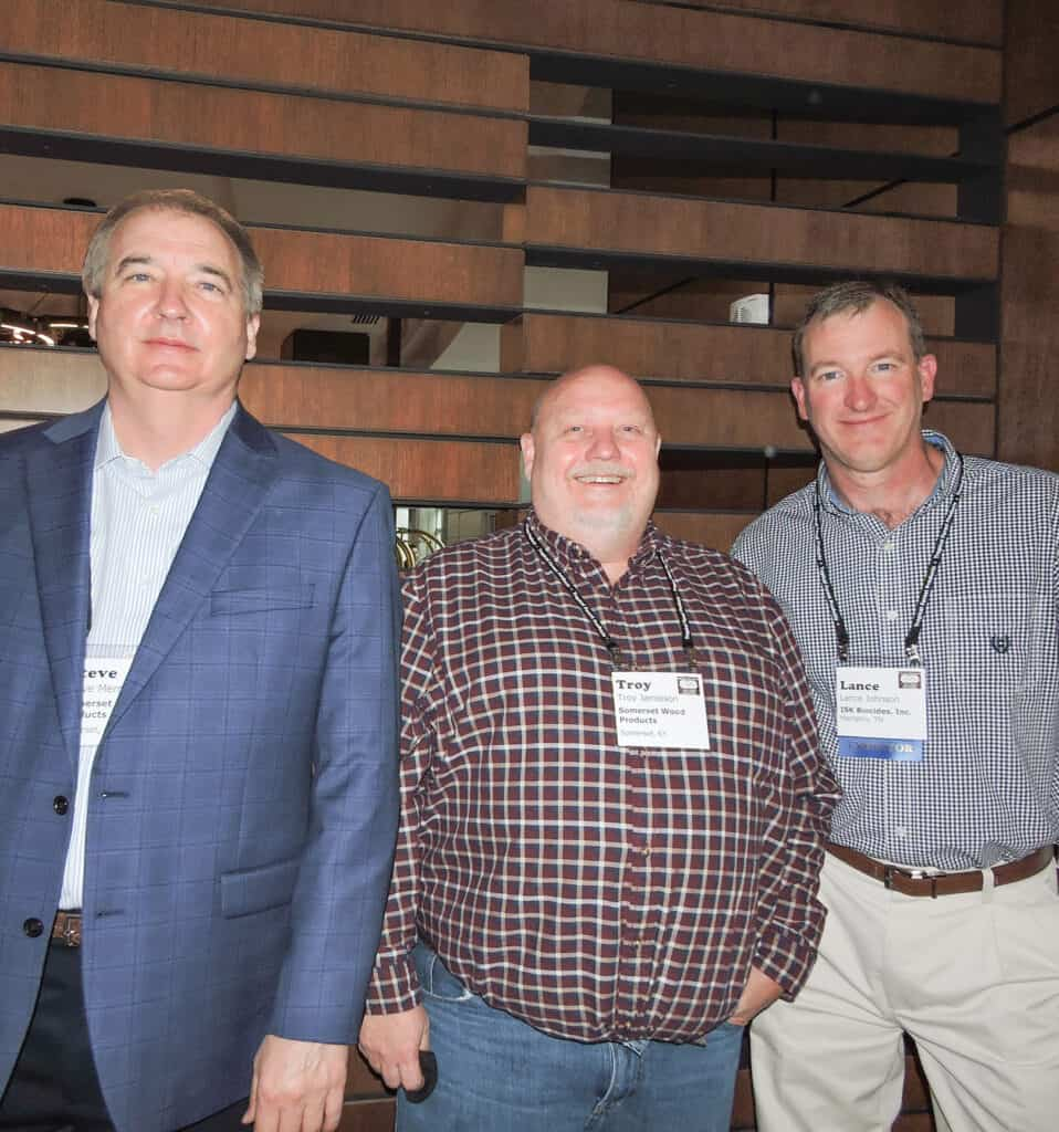Steve Merrick and Troy Jamieson, Somerset Wood Products, Somerset, KY; and Lance Johnson, ISK Biocides Inc., Memphis, TN