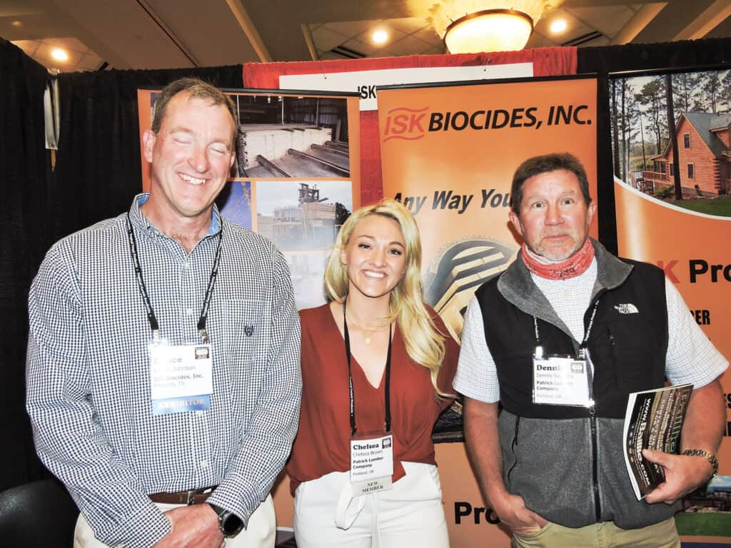 Lance Johnson, ISK Biocides Inc., Memphis, TN; and Chelsea Brown and Dennis Sanders, Patrick Lumber Co., Portland, OR
