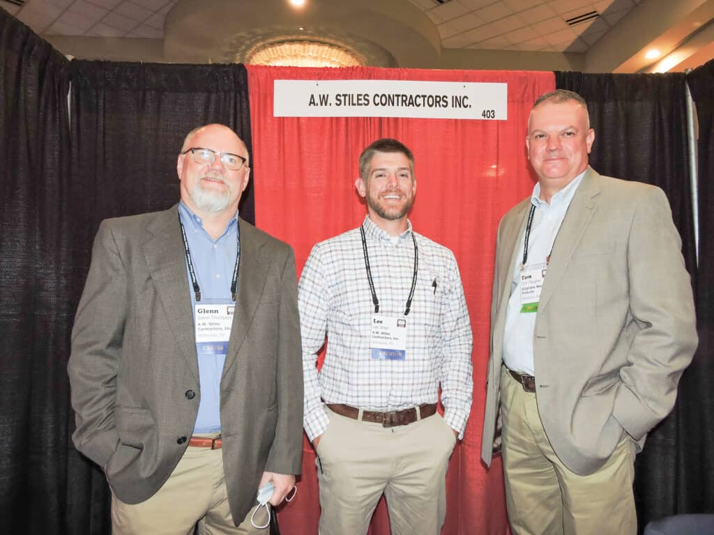 Glenn Thompson and Lee Stiles, A.W. Stiles Contractors Inc., McMinnville, TN; and Tom Plaugher, Allegheny Wood Products Inc., Petersburg, WV
