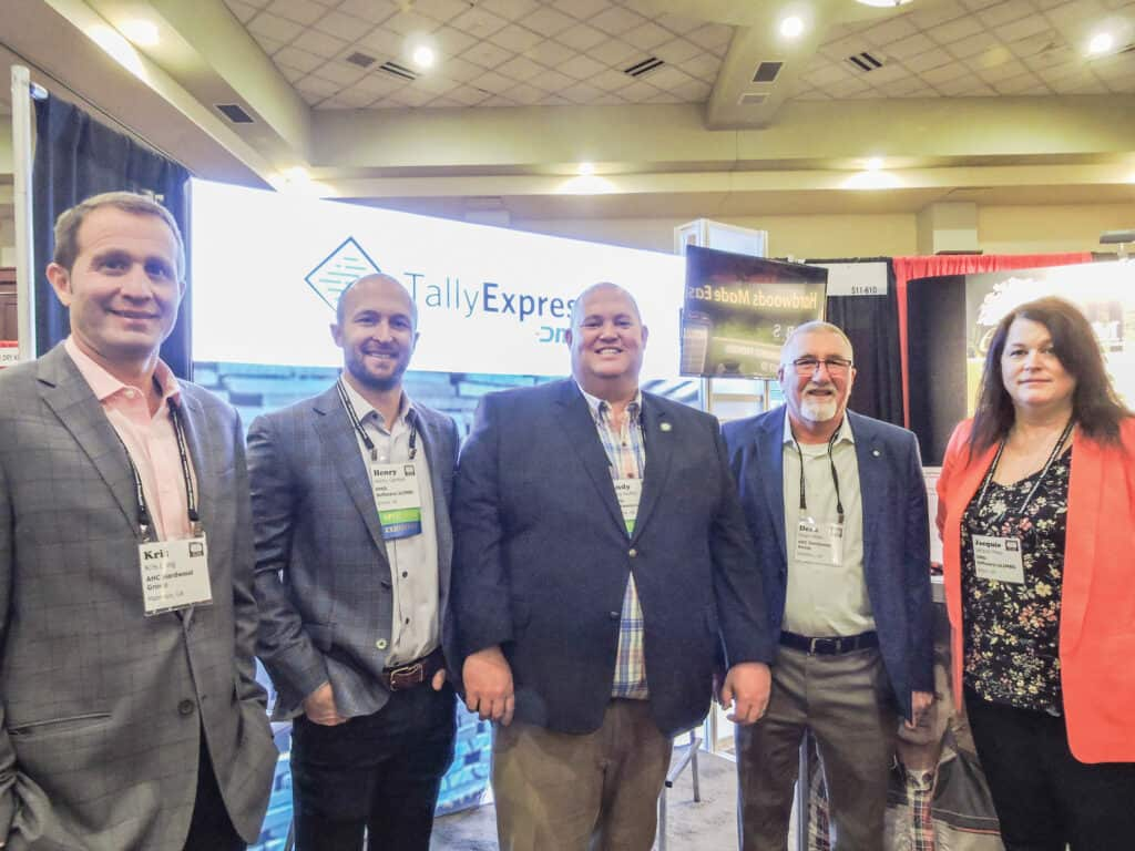 Kris Long, AHC Hardwood Group, Mableton, GA; Henry German, DMSi Software/TallyExpress/eLIMBS, Omaha, NE; and Andy Nuffer, DMSi Software/TallyExpress/eLIMBS, High Point, NC; Dean Miller, AHC Hardwood Group; and Jacquie Hess, eLIMBS, Belpre, OH