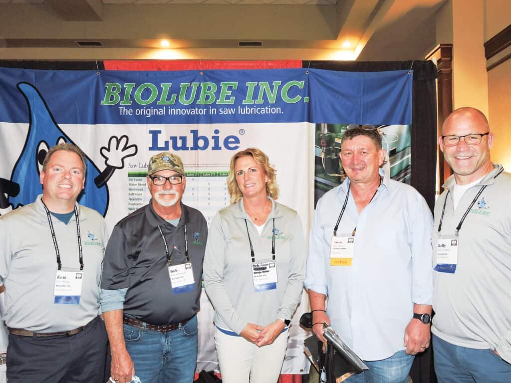 Eric Bailey, Bob Pennycoff and Deb Johnson, Biolube Inc., Fort Wayne, IN; Steve Harvey, Harvey Lumber LLC, Columbia, KY; and Kelly Johnson, Biolube Inc.