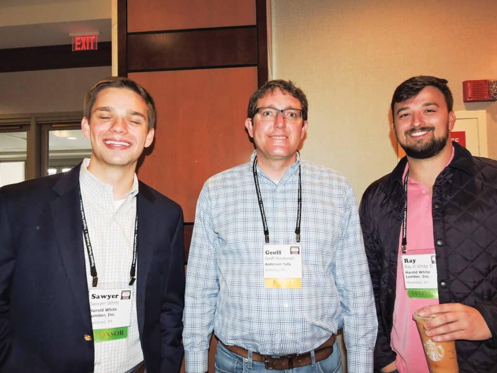 Sawyer White, Harold White Lumber Inc., Morehead, KY; Geoff Henderson, Anderson-Tully Lumber Co., Vicksburg, MS; and Ray White II, Harold White Lumber Inc.