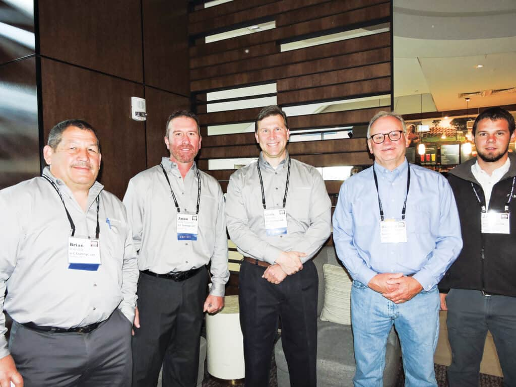 Brian Bila, Jason Goodman and Chris Fehr, U-C Coatings LLC, Buffalo, NY; Richard Wilkerson, Anderson-Tully Lumber Co., Vicksburg, MS; and Josh Peachey, Eagle Lumber Co. LLC, Greensburg, KY