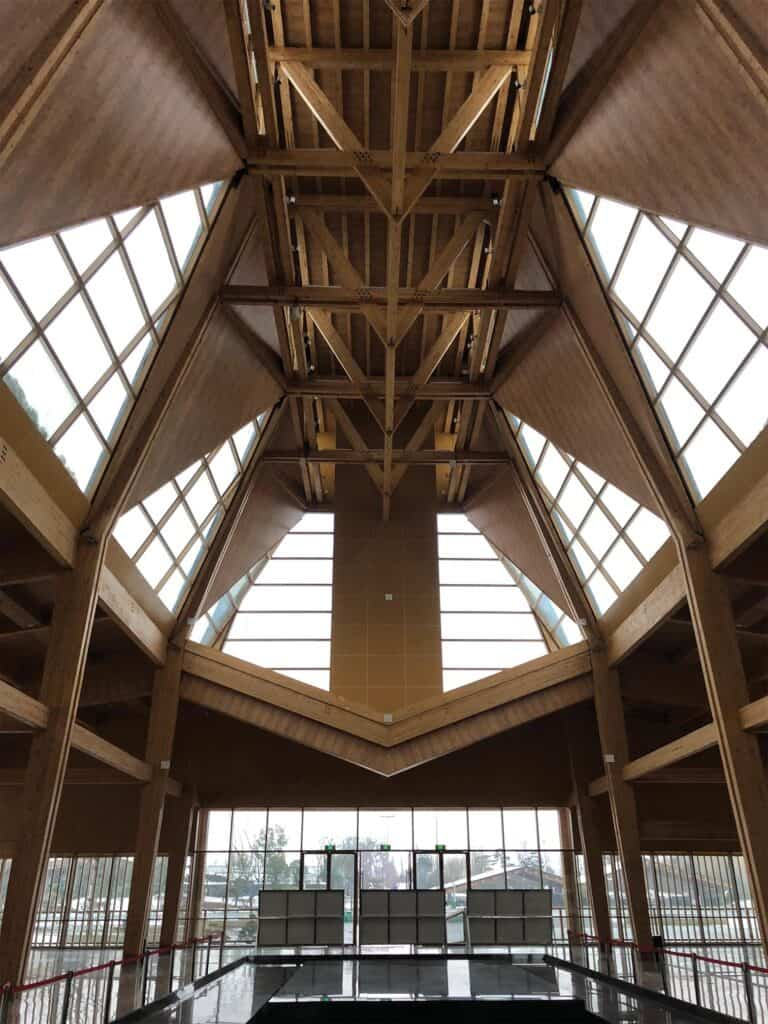 The structure built to house the Horticulture Exhibition of Jiangsu Prov.