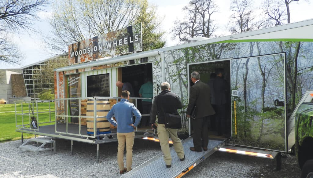 The Woods on Wheels 40-foot trailer was provided by the generous funding of the Indiana Hardwood Lumbermen's Association.