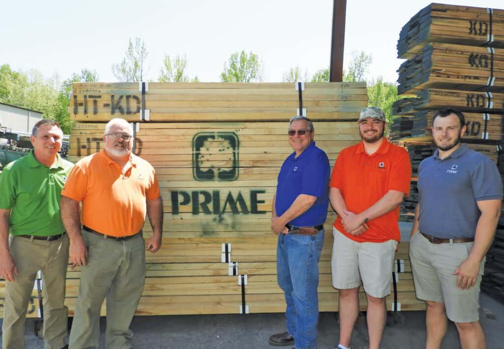 From left is the Prime Lumber sales team: Bill Graban, Greg Hubble, Jeffrey Neidert, Matt Neidert and Whitney Donithan.