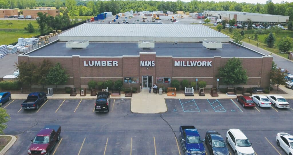 Headquartered in Trenton, MI, Mans Lumber & Millwork annually purchases approximately 30 million board feet of lumber for distribution in a variety of Hardwoods and softwoods, with Hardwoods comprised of Oak, Poplar and Walnut. Softwood lumber includes such species as cedar, pine, spruce, Douglas fir and hemlock fir. Pictured is the company's Canton, MI location, one of four owned by Mans.