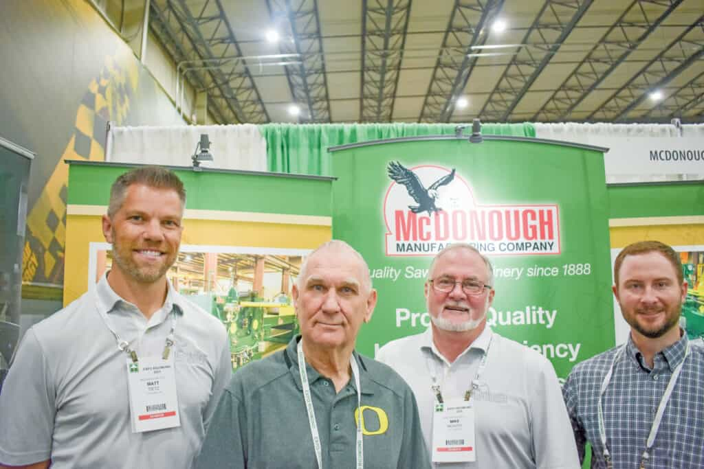 Matt Tietz, McDonough Manufacturing Co., Eau Claire, WI; Stan Neglay, Maxi Mill Inc., Albany, OR; and Mike McAvoy and Matt Frazier, McDonough Manufacturing Co.