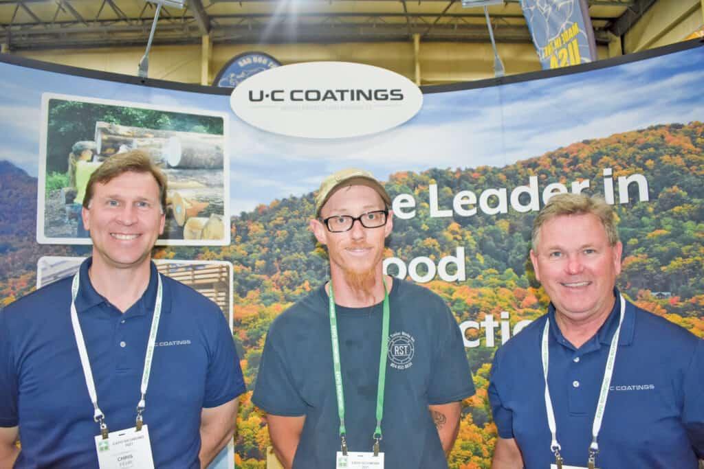 Chris Fehr, U-C Coatings LLC, Buffalo, NY; Ryan Penner, RST Timber Works Inc., Gloucester, VA; and Dave Sondel, U-C Coatings LLC