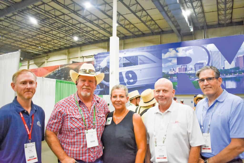 Ben Mathews, SII Dry Kilns, Lexington, NC; Jake Dean and Tammy Powell, Custom Sawmilling LLC, Rentz, GA; and Ken Matthews and Jim Higgins, SII Dry Kilns
